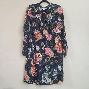 Loft Floral Long Sleeve Dress Large